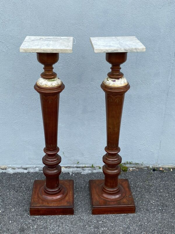Pair Of Victorian Marble Top Pedestals 1880s