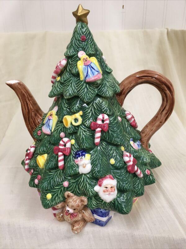 "Vintage OCI Omnibus  Christmas Tree Teapot 1992 Approx.9""tall Very Good +"
