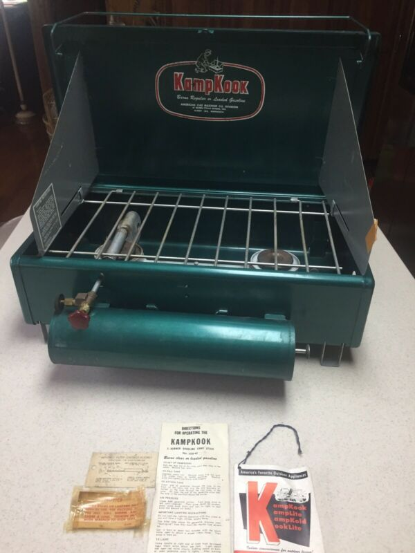 Vintage KampKook Stove AGM #41 Camp Stove Gasoline Or White Gas + Instructions