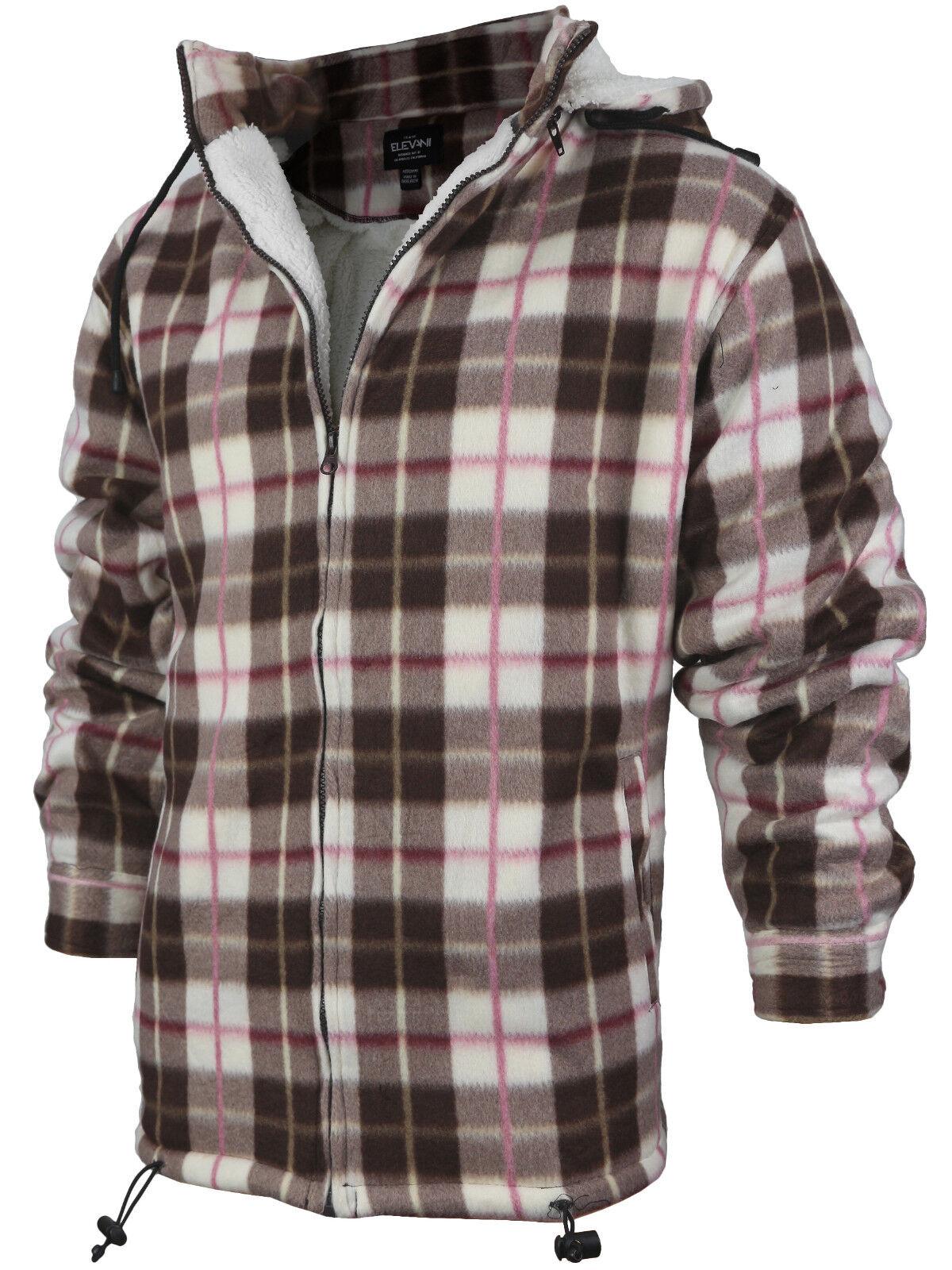 Men's Heavy Fleece Lined Sherpa Hoodie Plaid Flannel Jacket With Hood P17 - Brown Cream Red