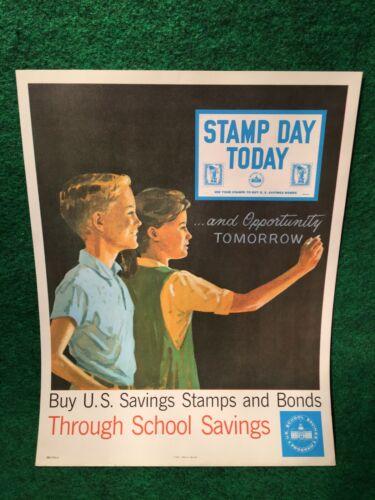 US Savings Stamps & Bonds Original Poster 1965 Vietnam COLD WAR ERA Grade School