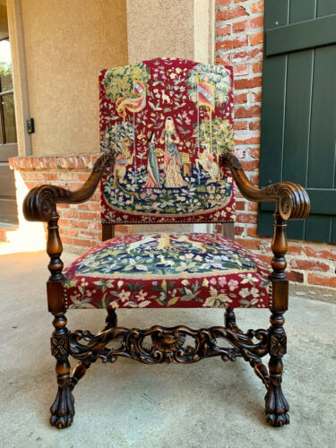 Antique French Carved Walnut Fireside Dining Arm Chair Tapestry Unicorn & Lady