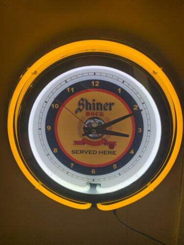 Shiner Bock Texas Beer Bar Man Cave Yellow Neon Clock Sign