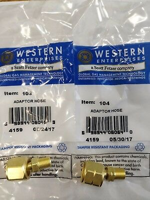 Western 103 104 Oxygen Acetylene Adaptors A Size Hose To B Torchregulator