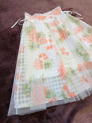 LIZ LISA Knee skirt JapanM Orange rose Sheer grid Lace-up Hime&Lolita 109fashion