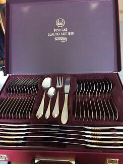 Solingen 70 Piece Cutlery Set & Retro Gold plated cutlery set Bestecke Solingen Herman nizza ...