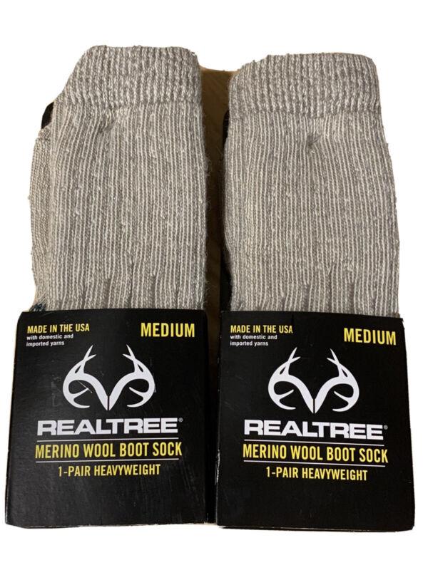 2 Pair Realtree  Merino Wool Boot Sock Made In USA. Size Medium
