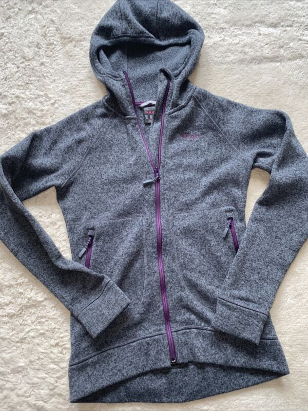 Womens Rab Quest Hoodie Fleece Jacket UK 8 Small Grey
