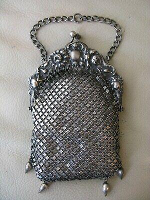 Antique Sterling Silver Mesh Chain mail Purse Bag flapper purse blue stone clasp
