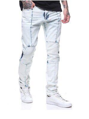 Bleach Wash Denim (Smoke Rise Mens Flex Four Bleach Wash Slim Fit Stretch Denim Jeans Ice Blue)