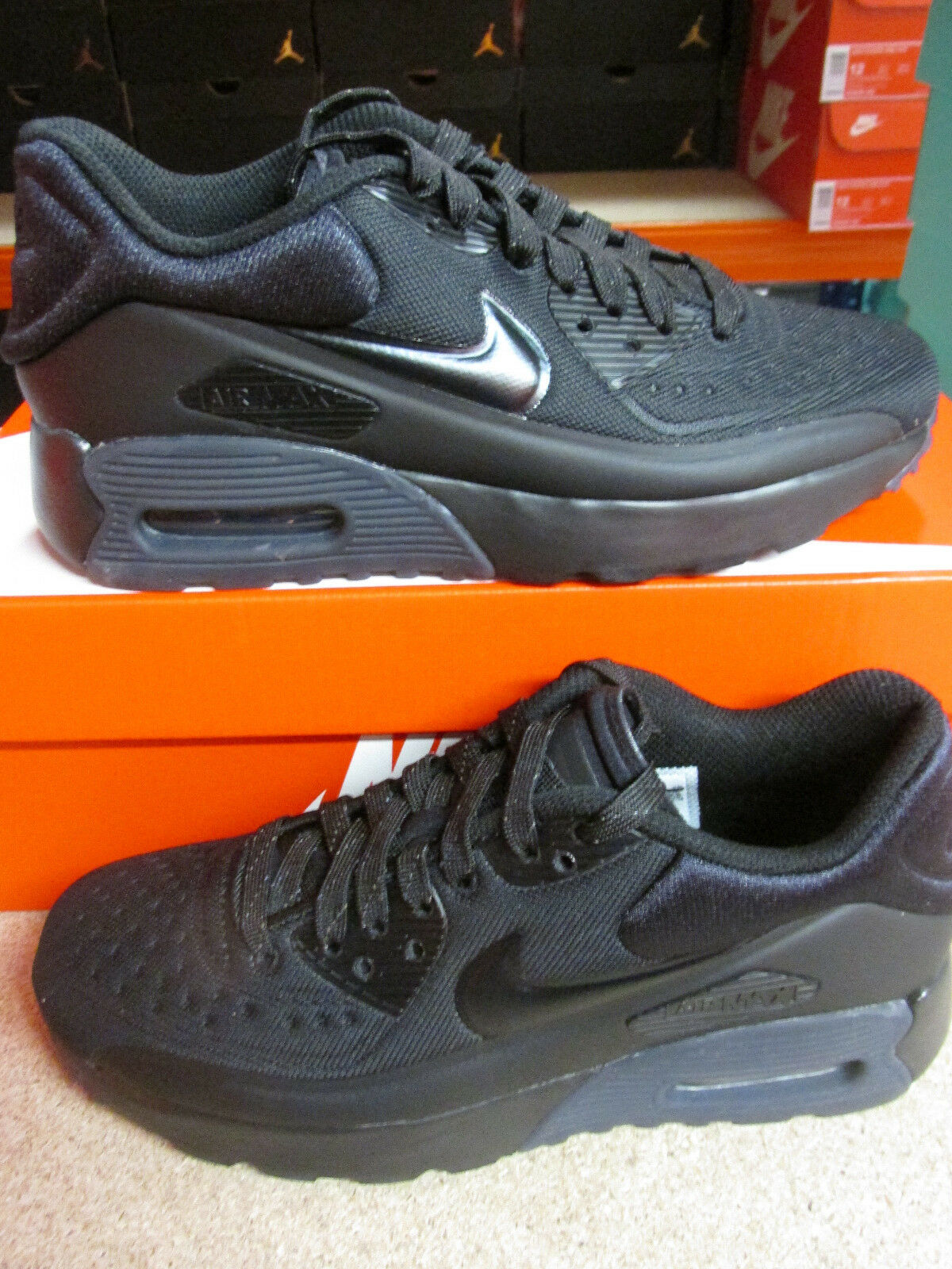Details about $110 Nike Air Max 90 Ultra SE GS Youth Size 6.5Y BlackVoltGrey 844599 006 NEW