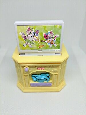 🌟 Fisher Price Loving Family Dollhouse TV Television Yellow Pop Up Mattel 2012