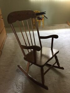 Hand made wooden child rocking chair