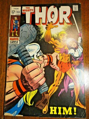 Mighty Thor #165 Hot Silver Key VG- 1st Adam Warlock Him Kirby Stan Lee Marvel