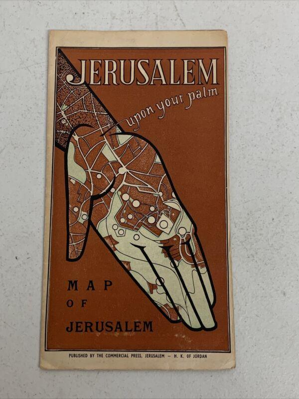 Original 1952 Jerusalem Upon Your Palm Pictorial Map Of Jerusalem