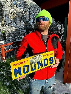 Vintage Mounds Chocolate Cocoanut Metal Sign W/ Candy Bar Graphic Kitchen Bakery