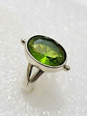 Chunky Peridot Stone Ring 925 Solid Sterling Silver 925 Size R~R1/2