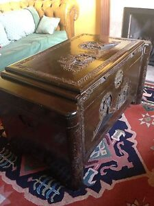 Large Heavily Carved Antique Chinese Camphor Trunk Chest Coffee Table With Shelf