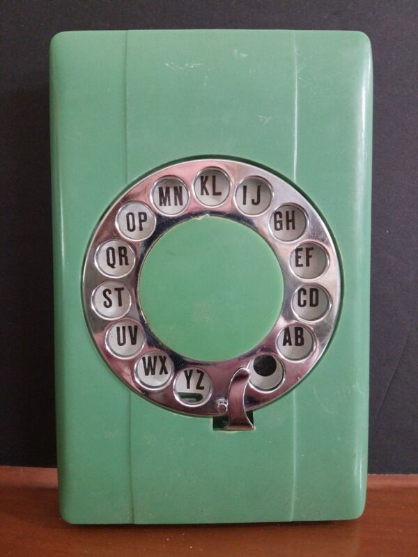 Vintage Eagle green  Rotary Dial Pop Up Telephone Address Book Rolodex Index