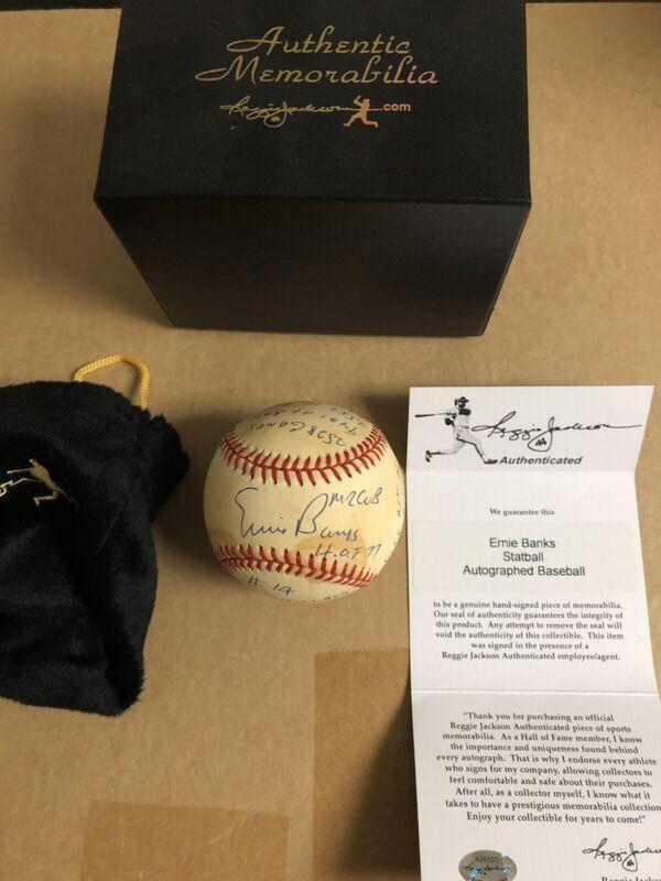 Autographed Ernie Banks 16 Stat Hand Signed Baseball Reggie Jackson .com Cert
