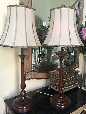 Theodore Alexander Pr Mahogany Finished Candlestick Table Lamps Taupe Silk Shade ()