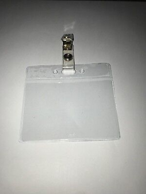 Clear Plastic Horizontal Name Tag ID Card Holder Badge with Clip Wholesale - Plastic Name Badge Holders