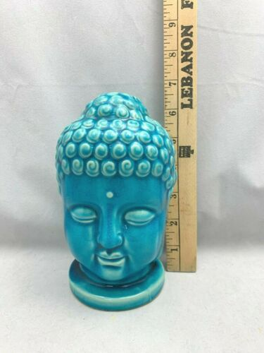 "Ceramic Buddha Head Statue Aqua Teal Blue with Crackle Finish  6.5"" Tall"