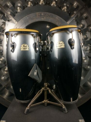 Pearl Primero Series Conga Gray to Black Pair w/ Stand