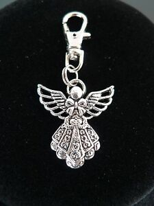 TIBETAN-SILVER-ALLOY-ANGEL-WITH-WINGS-BOWKNOT-BLESSING-DECORATIVE-KEY-CHAIN-CLIP