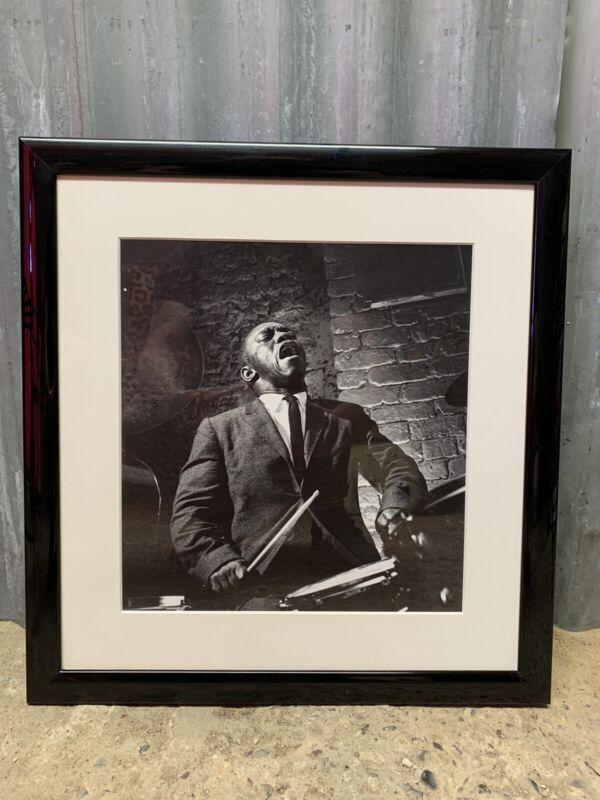 Vintage Art Blakey Framed Picture Jazz Drummer Hard Bop Art African American