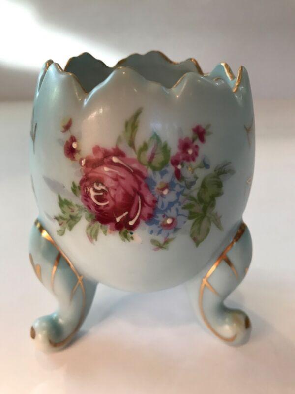 Vintage 3-legged Easter Egg Vase with Gold Leaf and Raised Embellishments