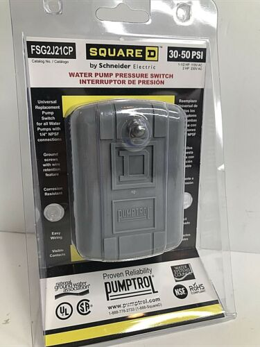 Square D 30 - 50 PSI Pressure Switch FSG2J21CP Pumptrol Well Pump Grey Cover FS!