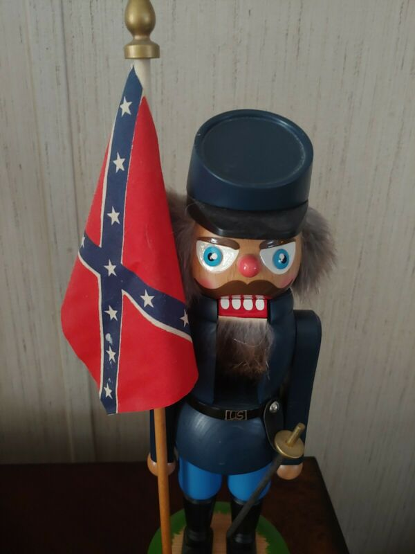 Vintage Lothar Junghanel Flag US Union Cavalry Nutcracker U.S Civil