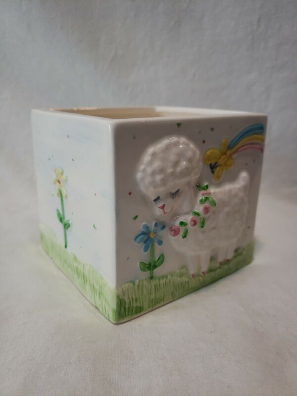 1986 Hand Painted Lefton Baby Decor Gift Planter Nursery Decor
