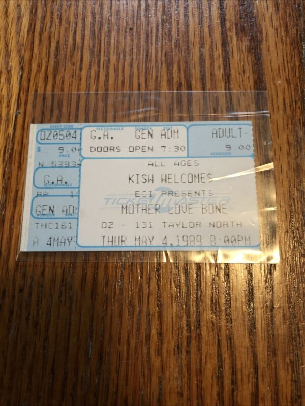 Mother Love Bone Rare Ticket Stub Pearl Jam Nirvana Alice In Chains AIC Rare