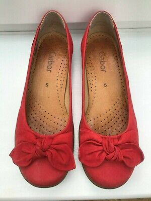 "Gabor Ladies Shoes Pumps ""Glitz"" Size UK 5 Red Nubuck with Bow Flat Rubber Sole"