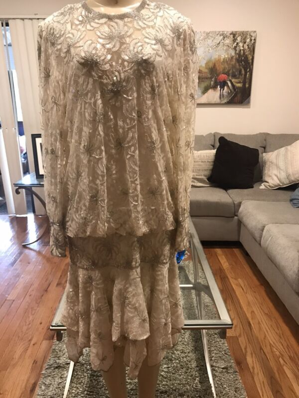 Vintage 70s- 80s Of White Lece Formal Party Dress Size M