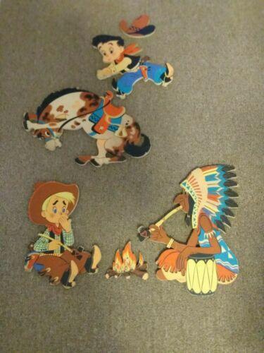 "1950s DOLLY TOY COWBOY INDIAN WALL DECOR BRONCO BILL #245 & ""SMOKEY"" #246"