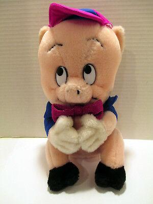 "VTG 1987 Warner Bros. Porky Pig Plush Doll Figure 10"" Mighty Star, Made in Korea"