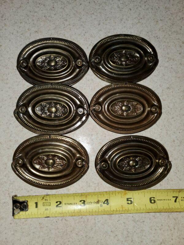 6--VINTAGE ORNATE OVAL DRAWER PULLS