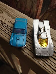 2-Vintage-Diecast-Cars-Playart-Ford-Mustang-Corgi-Juniors-Growlers-Porsche-917