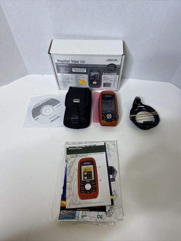 Magellan Triton 500 Handheld GPS Bundle W/ Charger, Case, Software, & Box 👀🎣🏔