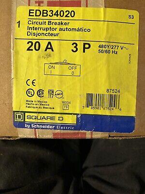 Square D Edb34020 3 Pole 20a 480y277 V Circuit Breaker New In Box 20a 3 P