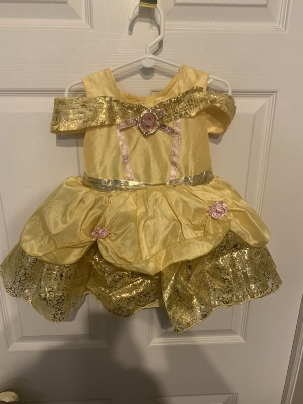 Disney Baby Belle Costume Beauty & The Beast Gold Gown Toddler Sz 18-24 Months