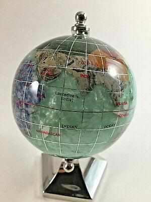 Silver Tone Desk Globe - Mother of Pearl/Abalone Semi Precious Stones Inlay -