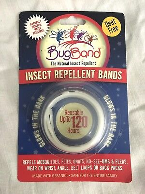 - 2 BUG BAND Insect Repellent Band. DEET FREE. Glows in the Dark. NEW.