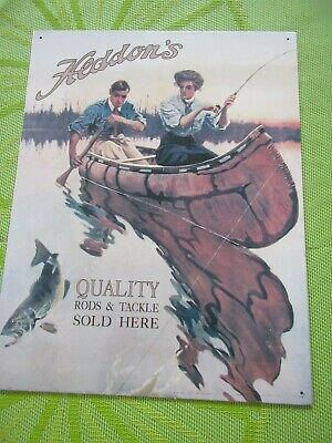Vintage Advertising Heddon's Tin Sign QUALITY RODS&TACKLE SOLD HERE MADE in USA