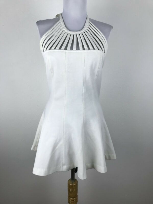 Vintage 1960s Swim Top Halter White Cage Size S Small Sunbathing Womens