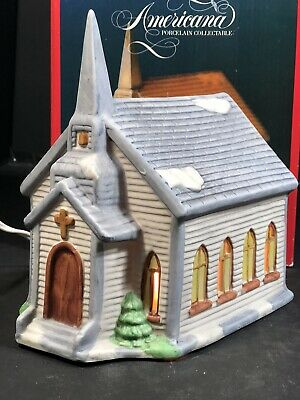 Christmas Village House Church Americana Porcelain Collectible Santas Best 7
