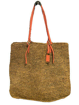 EUC Michael Kors Raffia Santorini Woven Tote Handbag Shoulder Orange Beach Bag